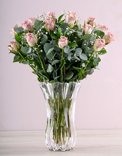 crystal-vases: Lilac Roses in a Clear Crystal Vase!