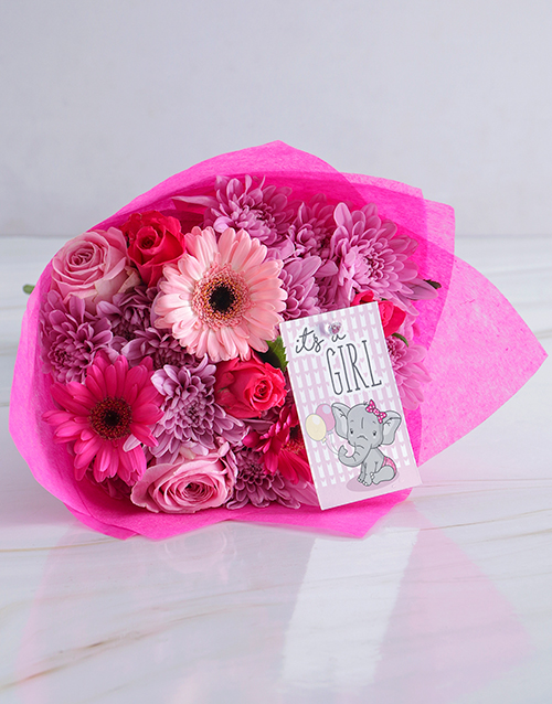 baby: Pink Baby Girl Bouquet!