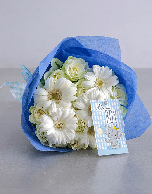 bouquets: White and Blue Boy Bouquet!