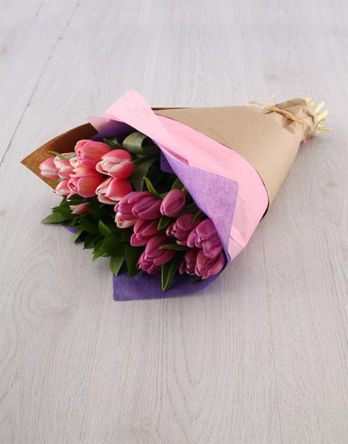 tulips: Pink & Purple Tulip Bouquet!