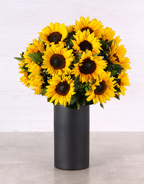 colour: Sunflowers in a Black Chalk Vase!