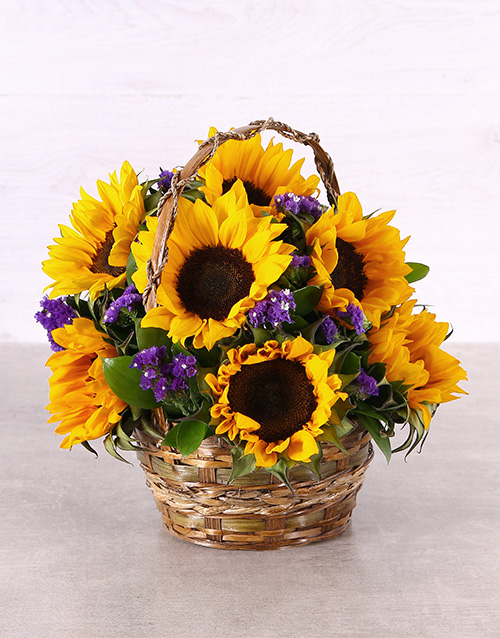 flowers: Sunflowers in a Woven Basket!