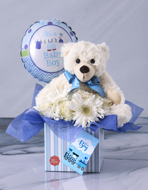 teddy-bears: Baby Boy Flower Gift Box!