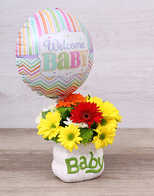 baby: Welcome Baby Ceramic Baby Bag & Balloon!