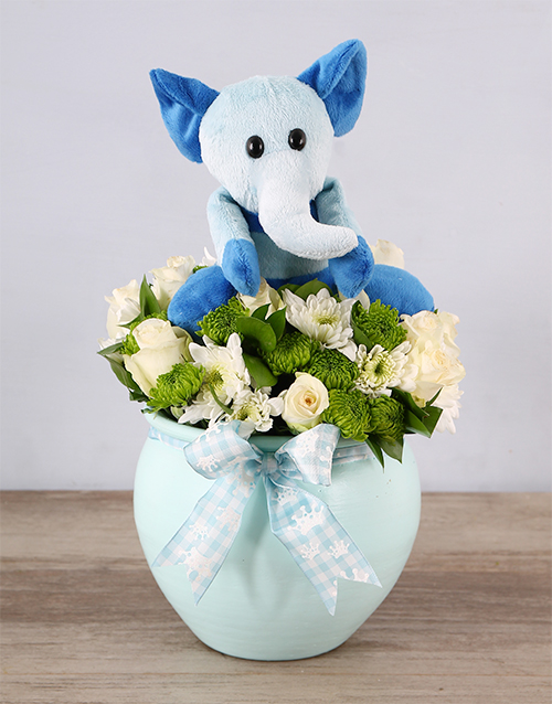 baby: Blue Elephant Teddy and Rose Arrangement!