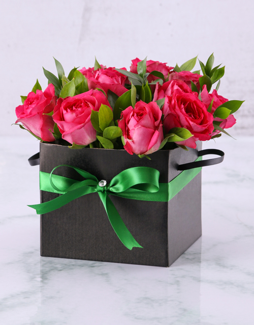 best-sellers: Cerise Roses in a Box!