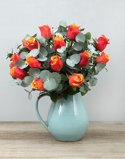 roses: Cherry Brandy Roses in Ceramic Jug!