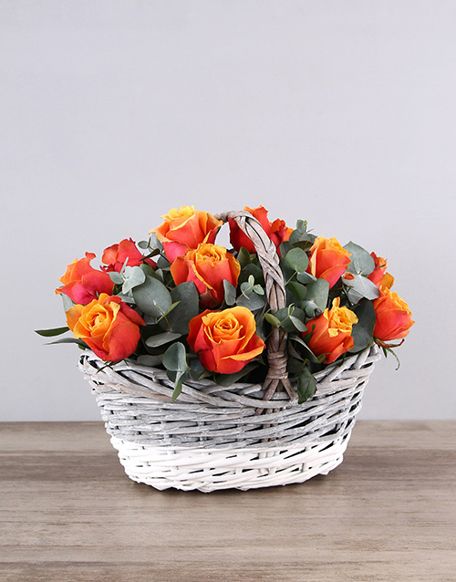 speciality: Cherry Brandy Roses in Grey White Basket!