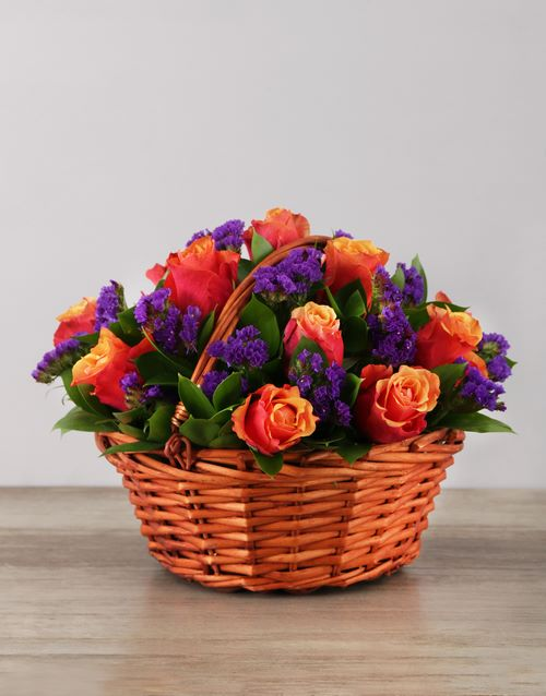 speciality: Cherry Brandy Roses in Woven Basket!