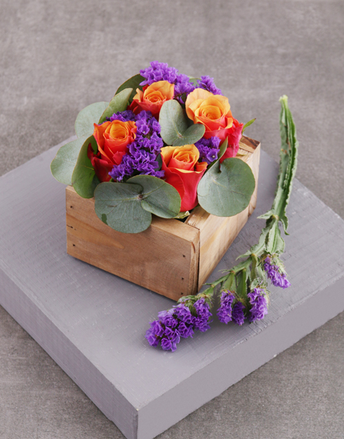 speciality: Cherry Brandy Roses in Square Wooden Crate!
