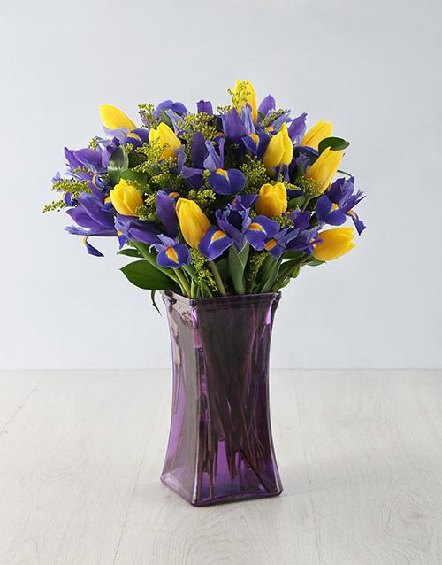 irises: Dazzling Iris and Tulip Arrangement!