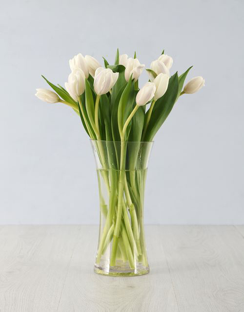 baby: White Tulips in Tall Flair Vase!