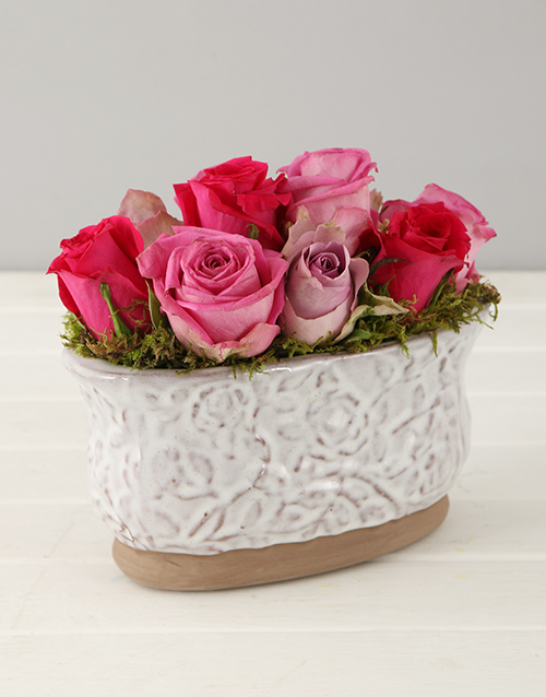 roses: Lilac and Pink Roses in Glazed Oval Pot!