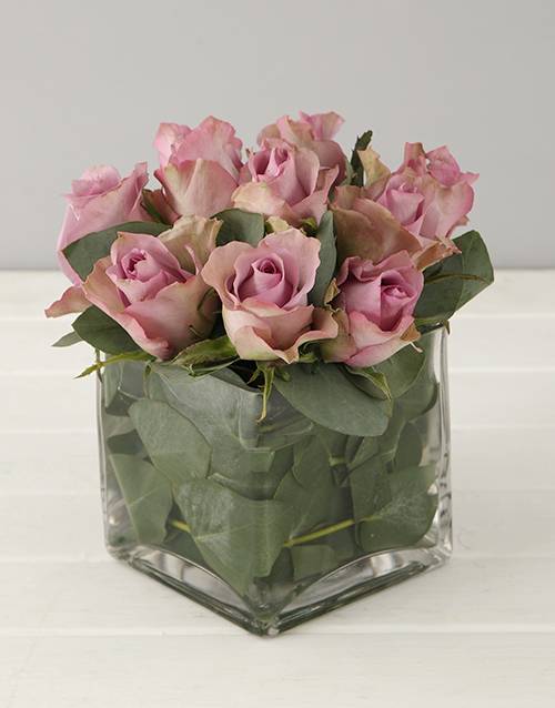 Lilac Roses In Small Square Vase