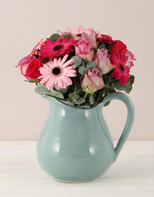 colour: Flower Arrangement in a Vintage Pitcher!