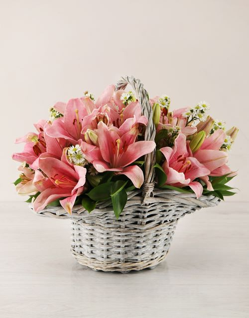 flowers: Pink Asiflorum Lily Basket!
