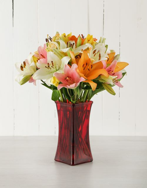 vase: Mixed Asiflorum Lilies in Red Vase!