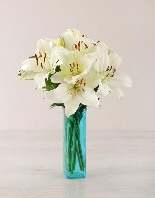friendship: White Asiflorum Lily Vase!