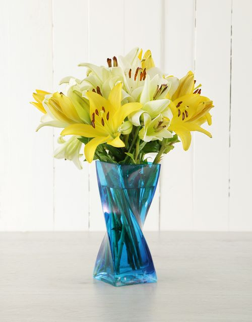 lilies: Asiflorum Lilies in Blue Twisty Vase!