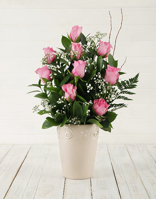 flowers: Pink Rose Pot!