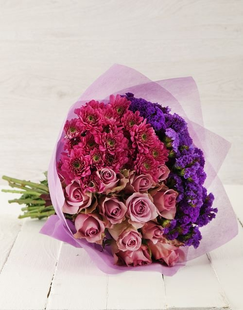 colour: Purple Rose and Spray Sympathy Bouquet!