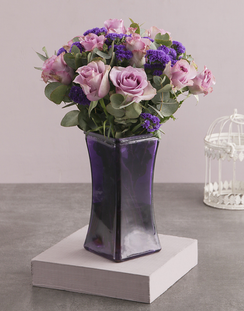 best-sellers: Roses and Mixes in Purple Square Vase!