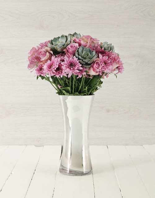 colour: Roses & Succulents in Silver Flair Vase!