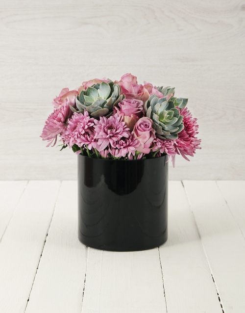 colour: Roses & Succulents in Cylinder Vase!
