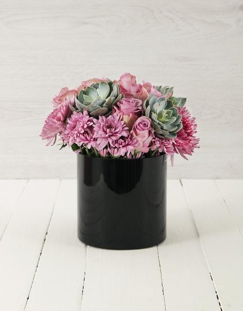 coloured-vases: Roses & Succulents in Cylinder Vase!