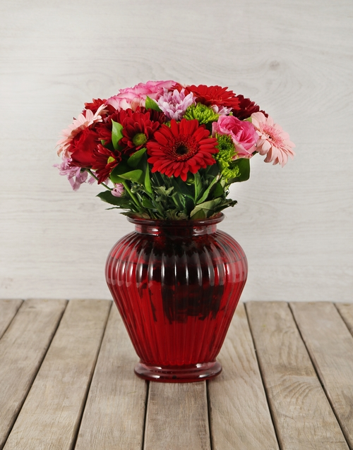 coloured-vases: Mixed Flowers in Red Lantern Vase!