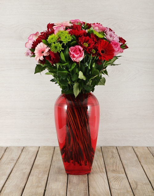 colour: Mixed Flowers in Red Bullet Vase!