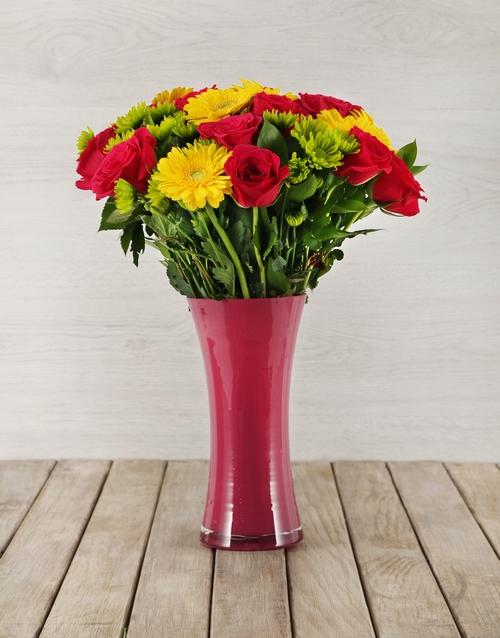 vase: Roses, Gerberas and Sprays in Pink Vase!
