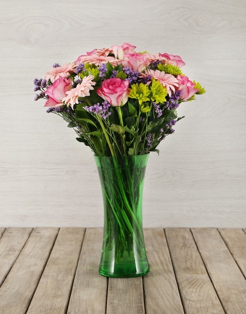 colour: Mixed Flowers in Green Flair Vase!