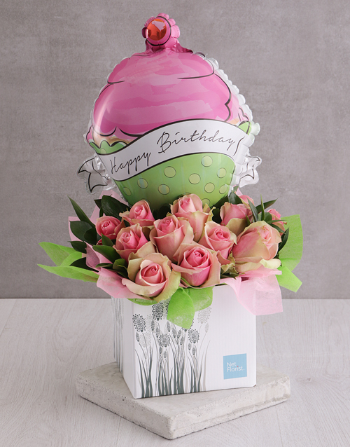 birthday: Happy Birthday Pink Rose and Cupcake Balloon Box!