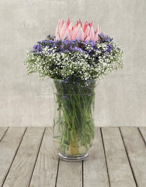 proteas: King Protea Delight  in Hurricane Vase!
