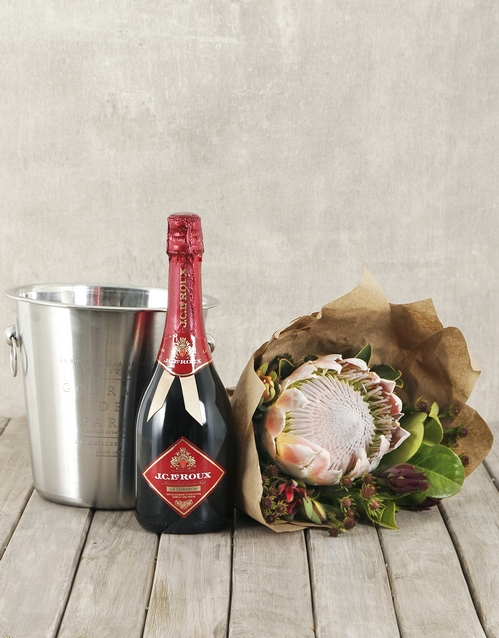 seasonal: JC Le Roux Red King Protea Bouquet & Ice Bucket!