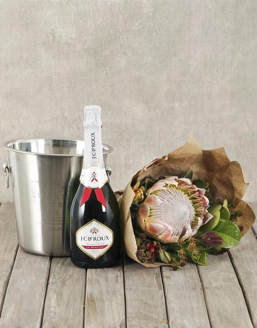 proteas: JC Le Roux White, King Protea Bouquet & Ice Bucket!