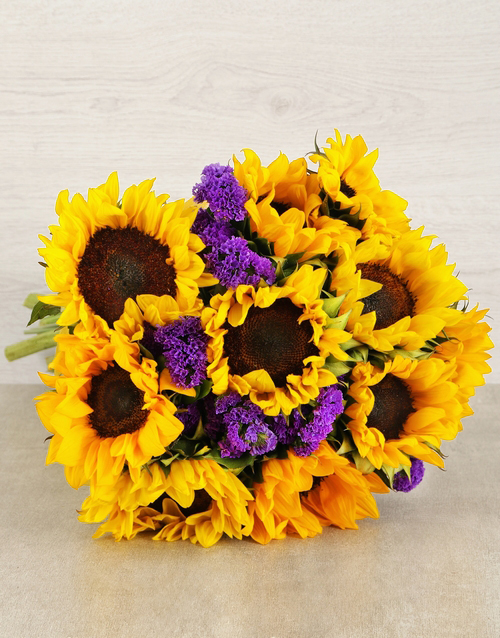 teachers-day: Sunflower and Statise Bouquet!