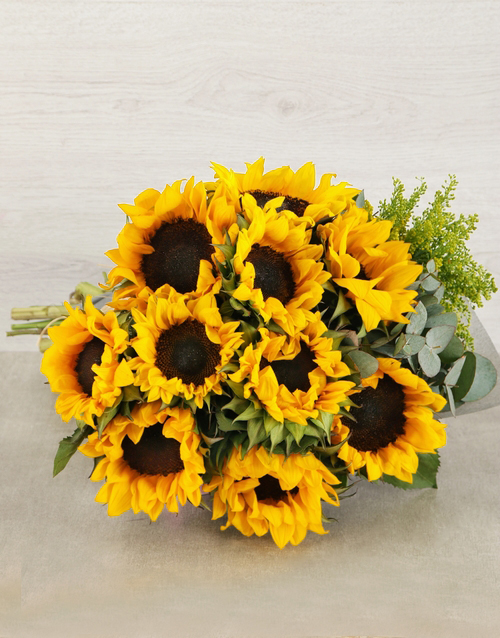 get-well: Sunflower and Goldenrod Bouquet!