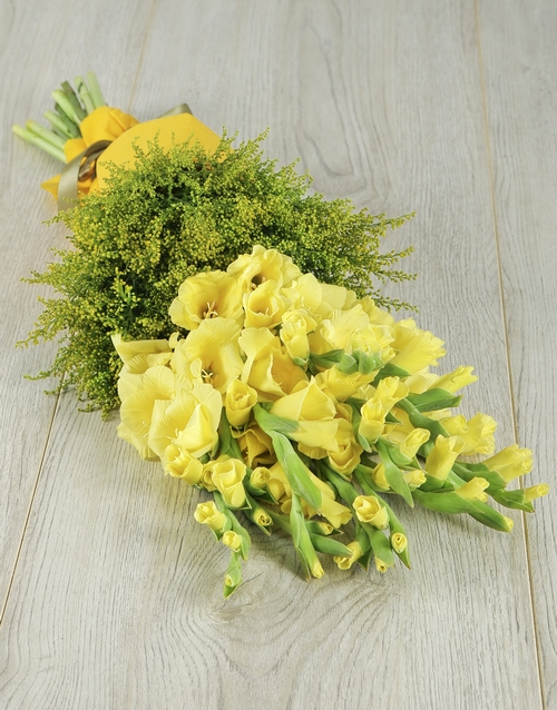 friendship: Yellow Gladiolus and Goldenrod Bouquet!