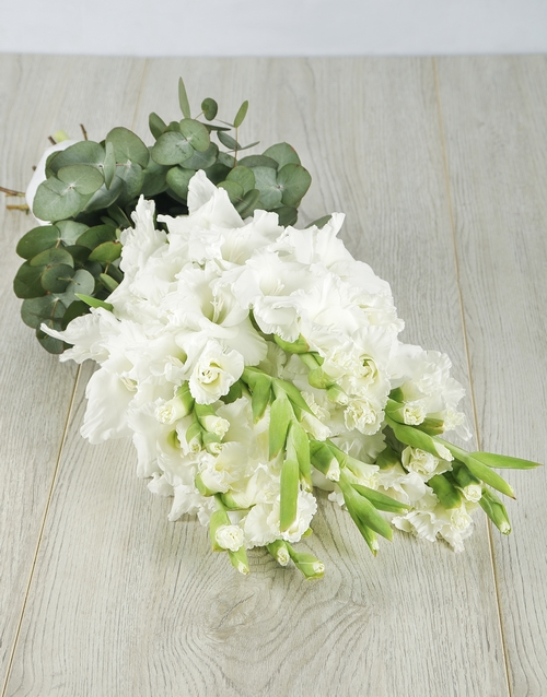 seasonal: White Gladiolus and Mixed Greens Bouquet!