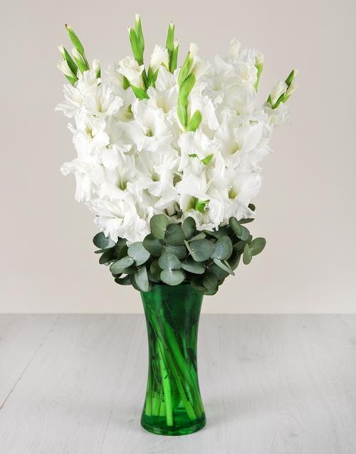 colour: White Gladiolus in Green Flair Vase!