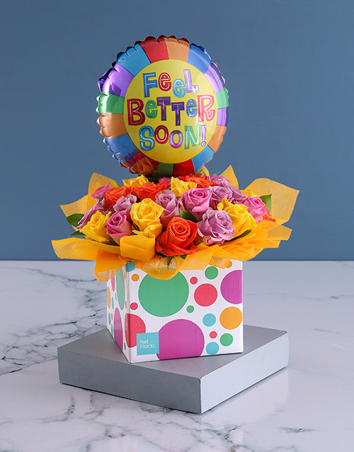 in-a-box: Get Well Popsicle Balloon and Rose Box!