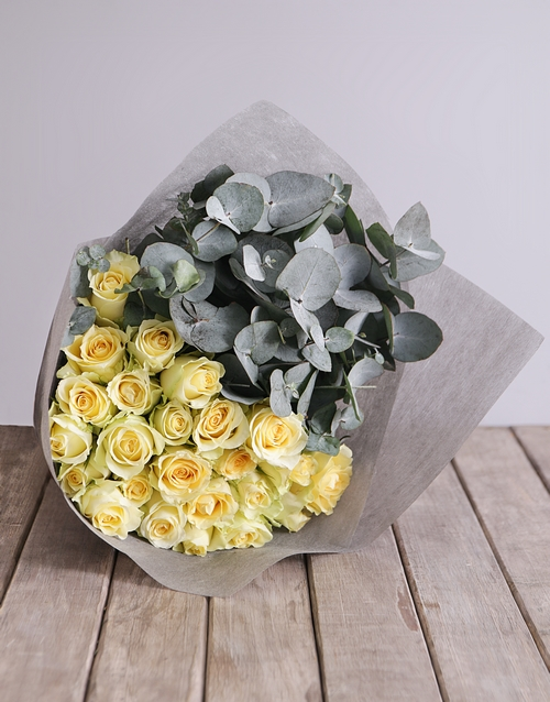 passover: Cream Rose and Gum Leaf Bouquet!