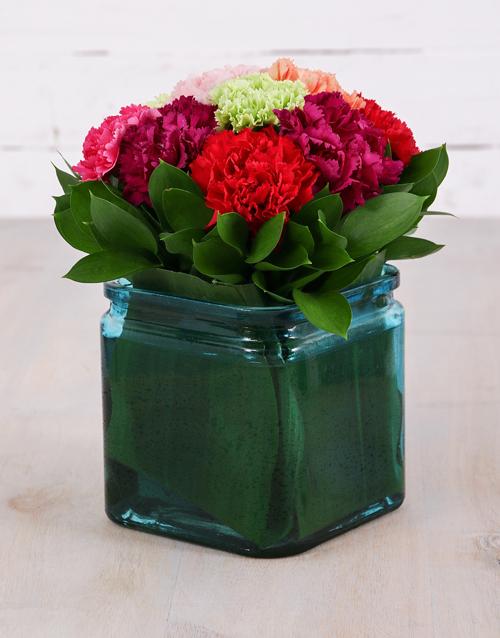 carnation: Mixed Carnations and Aspidistra Vase!