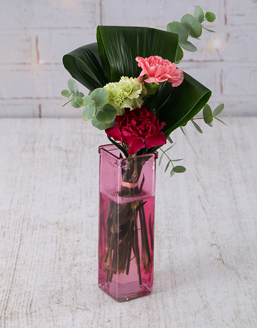 vase: Mixed Carnations in Straight Vase!