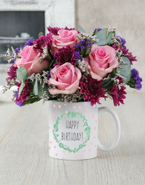 colour: Happy Birthday Garland Mug Arrangement!