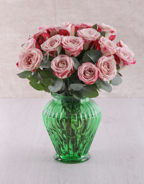 speciality: Variegated Roses in Green Vase!