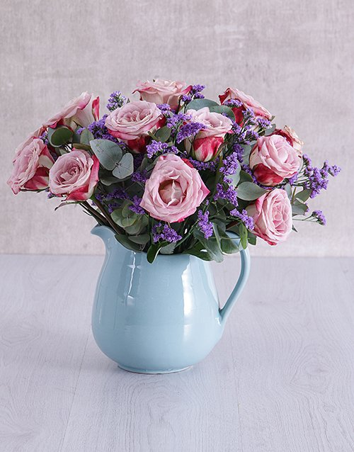 speciality: Variegated Roses in Ceramic Water Jug!