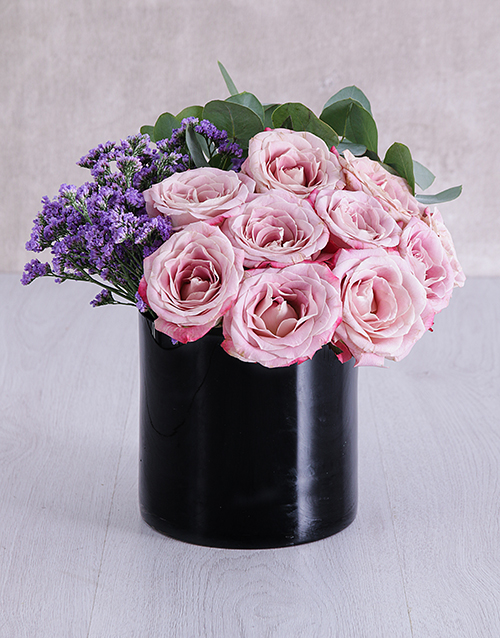 speciality: Variegated Roses in Solid Black Cylinder Vase!